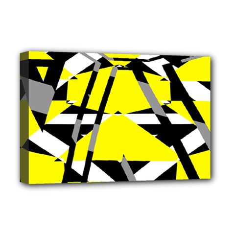 Yellow, Black And White Pieces Abstract Design Deluxe Canvas 18  X 12  (stretched)