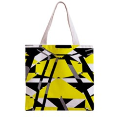 Yellow, black and white pieces abstract design Grocery Tote Bag