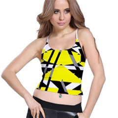 Yellow, black and white pieces abstract design Women s Spaghetti Strap Bra Top