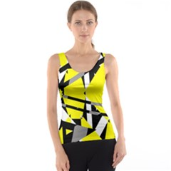 Yellow, Black And White Pieces Abstract Design Tank Top