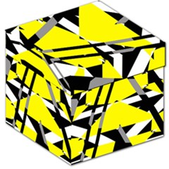Yellow, Black And White Pieces Abstract Design Storage Stool 12