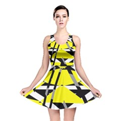 Yellow, Black And White Pieces Abstract Design Reversible Skater Dress