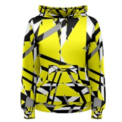 Yellow, black and white pieces abstract design Women s Pullover Hoodie