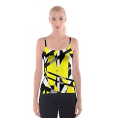 Yellow, black and white pieces abstract design Spaghetti Strap Top