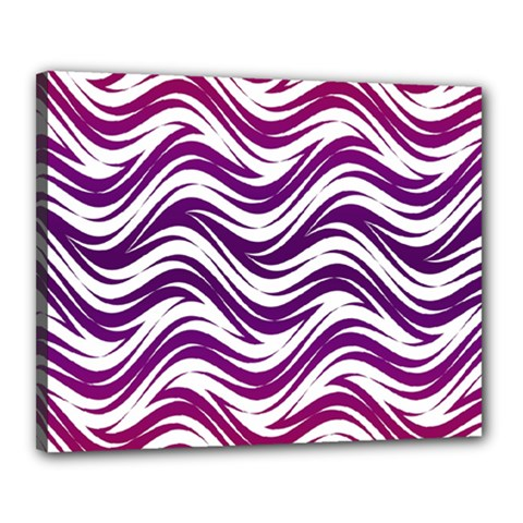 Purple Waves Pattern Canvas 20  X 16  (stretched)