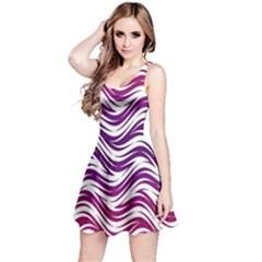 Purple Waves Pattern Sleeveless Dress