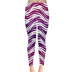 Purple waves pattern Winter Leggings