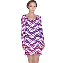 Purple waves pattern Long Sleeve Nightdress