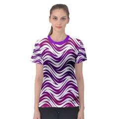 Purple waves pattern Women s Sport Mesh Tee
