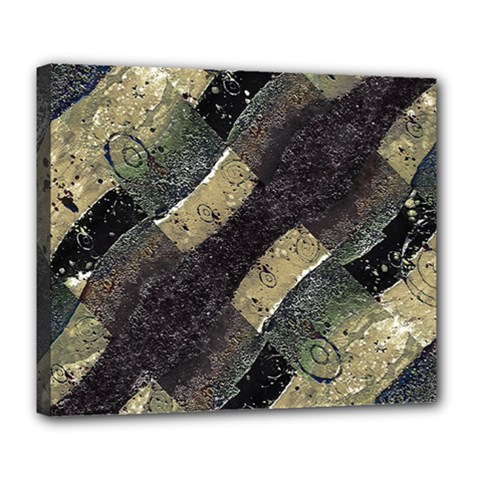 Geometric Abstract Grunge Prints in Cold Tones Deluxe Canvas 24  x 20  (Framed)