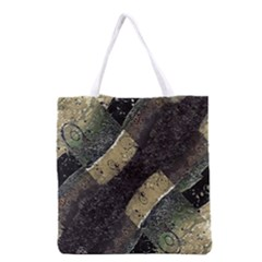 Geometric Abstract Grunge Prints In Cold Tones Grocery Tote Bag
