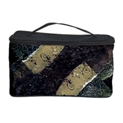 Geometric Abstract Grunge Prints In Cold Tones Cosmetic Storage Case