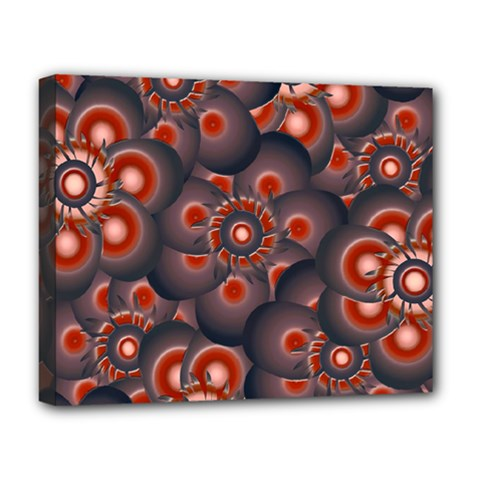 Modern Floral Decorative Pattern Print Deluxe Canvas 20  X 16  (framed)