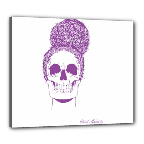 Purple Skull Bun Up Canvas 24  X 20  (framed)