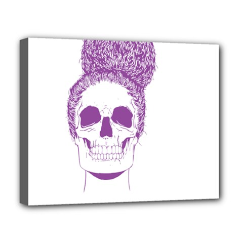 Purple Skull Bun Up Deluxe Canvas 20  X 16  (framed)
