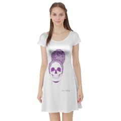 Purple Skull Bun Up Short Sleeved Skater Dress