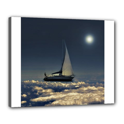 Navigating Trough Clouds Dreamy Collage Photography Canvas 20  X 16  (framed)