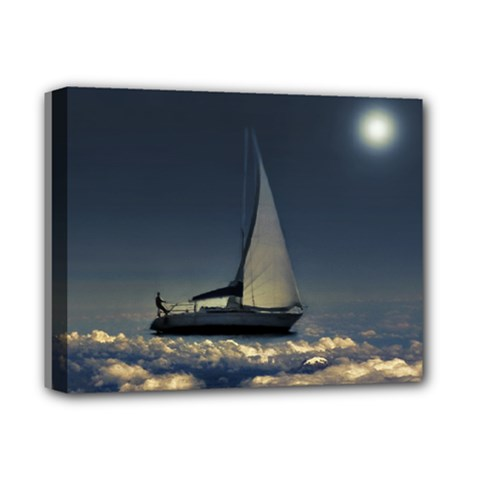 Navigating Trough Clouds Dreamy Collage Photography Deluxe Canvas 14  X 11  (framed)