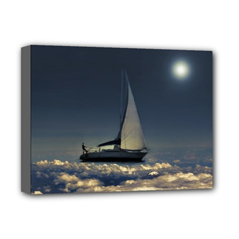 Navigating Trough Clouds Dreamy Collage Photography Deluxe Canvas 16  X 12  (framed)