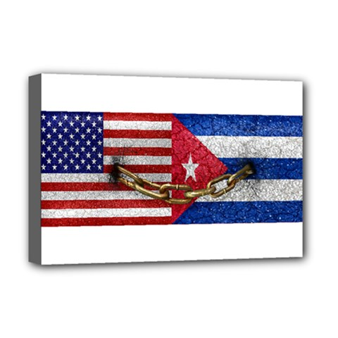 United States And Cuba Flags United Design Deluxe Canvas 18  X 12  (framed)