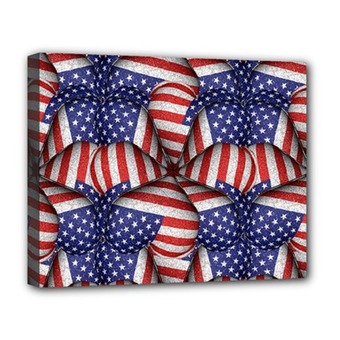 Modern Usa Flag Pattern Deluxe Canvas 20  X 16  (framed)