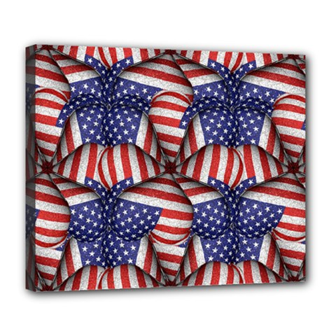 Modern Usa Flag Pattern Deluxe Canvas 24  X 20  (framed)