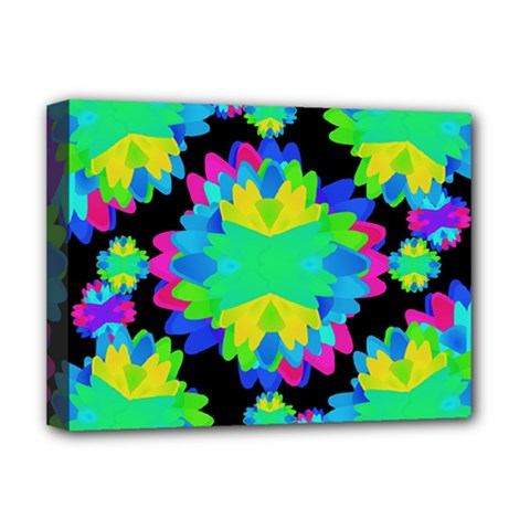 Multicolored Floral Print Geometric Modern Pattern Deluxe Canvas 16  X 12  (framed)