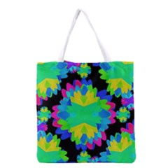 Multicolored Floral Print Geometric Modern Pattern Grocery Tote Bag