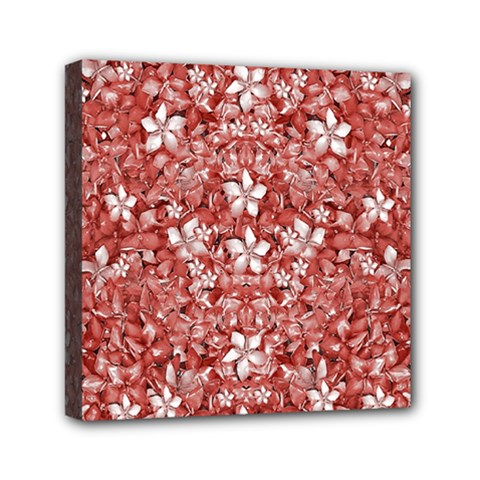 Flowers Pattern Collage In Coral An White Colors Mini Canvas 6  X 6  (framed)