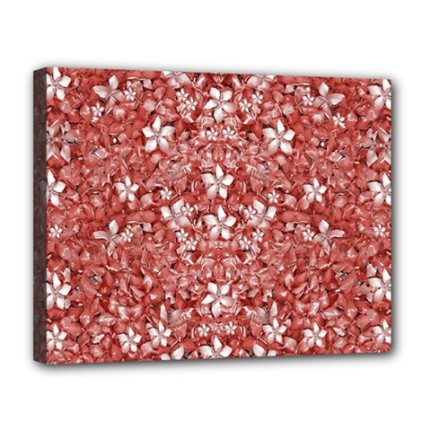 Flowers Pattern Collage In Coral An White Colors Canvas 14  X 11  (framed)