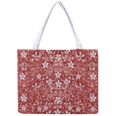 Flowers Pattern Collage in Coral an White Colors Tiny Tote Bag
