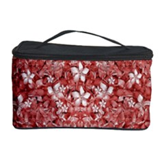 Flowers Pattern Collage in Coral an White Colors Cosmetic Storage Case