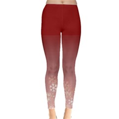 red snow flakes Leggings