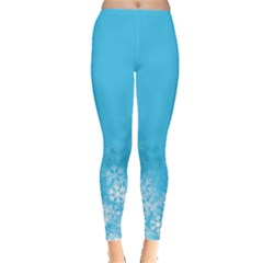 Sky Blue Snow Flakes Leggings