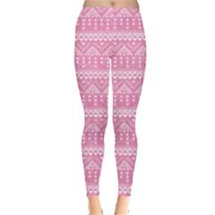 Aztec Tribal Pink Print Leggings