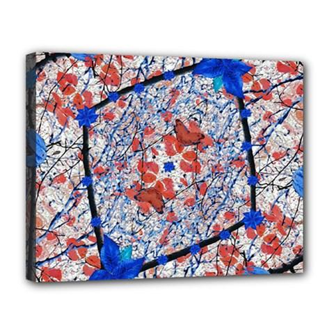 Floral Pattern Digital Collage Canvas 14  X 11  (framed)