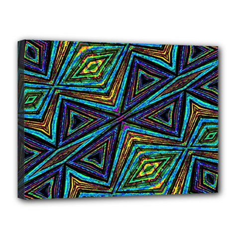 Tribal Style Colorful Geometric Pattern Canvas 16  X 12  (framed)