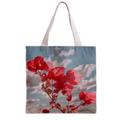 Flowers In The Sky Grocery Tote Bag