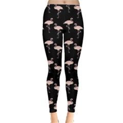 Pink Flamingo Pattern On Black  Leggings