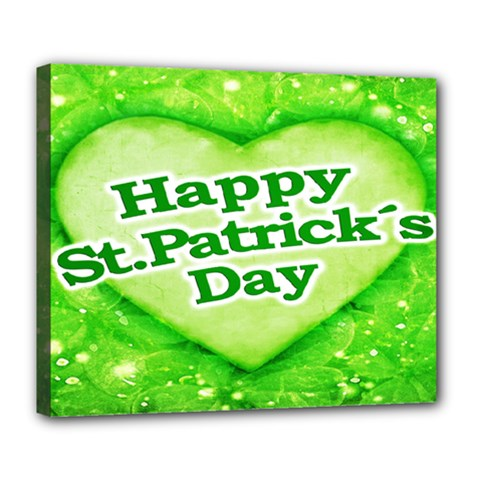 Unique Happy St  Patrick s Day Design Deluxe Canvas 24  X 20  (framed)