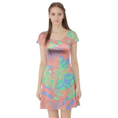 Tropical Summer Fruit Salad Short Sleeve Skater Dress