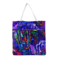 Neon Purple Blue Pink Grocery Tote Bag