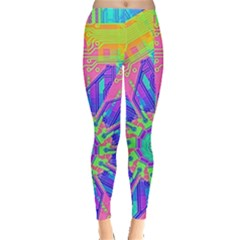 Neon Flower Purple Hot Pink Orange Leggings