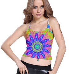 Neon Flower Purple Hot Pink Orange Women s Spaghetti Strap Bra Top