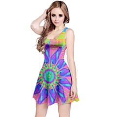 Neon Flower Purple Hot Pink Orange Sleeveless Dress