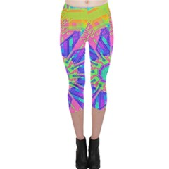 Neon Flower Purple Hot Pink Orange Capri Leggings