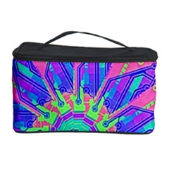 Neon Flower Purple Hot Pink Orange Cosmetic Storage Case