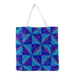Hot Neon Pink Blue Triangles Grocery Tote Bag