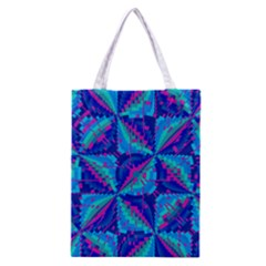 Hot Neon Pink Blue Triangles Classic Tote Bag