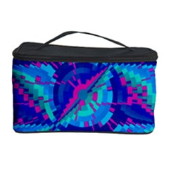 Hot Neon Pink Blue Triangles Cosmetic Storage Case